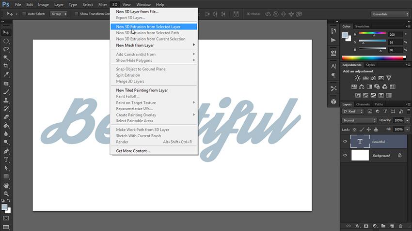 چگونه یک متن سه بعدی در فتوشاپ طراحی کنیم 2